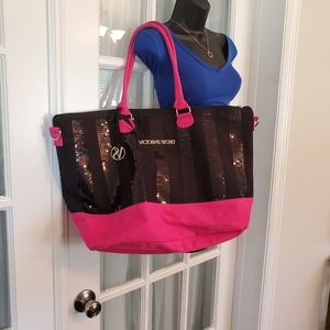 Victoria Secret Black and Pink Sequin Tote